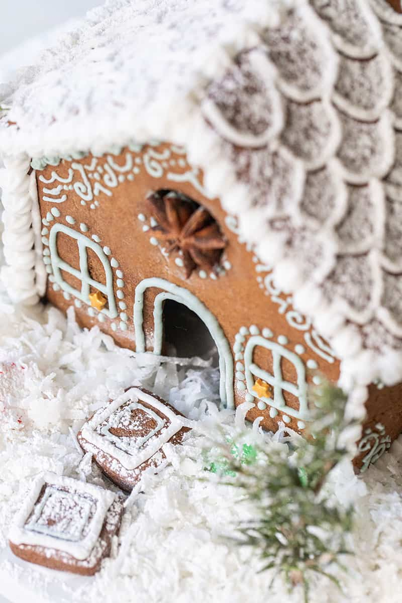 Gingerbread house with coconut snow.