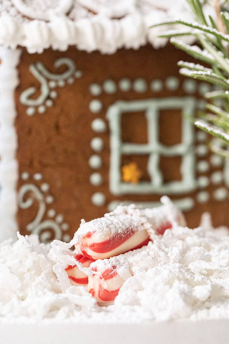 Peppermint logs and coconut for snow.