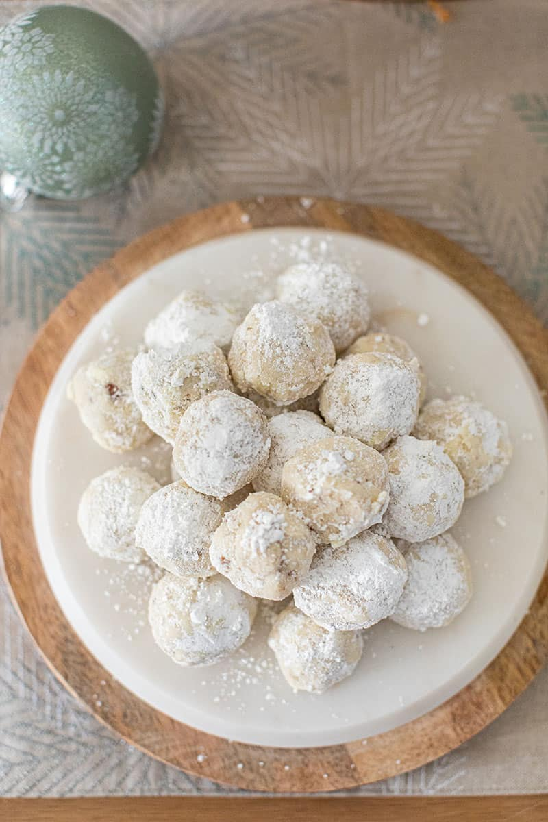 Snowball cookies on a platter.