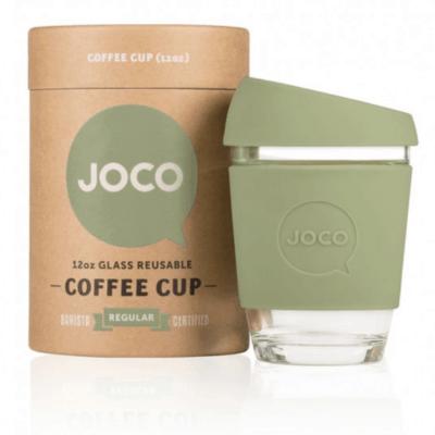 JOCO 12oz Glass Reusable Coffee Cup (Army Green)