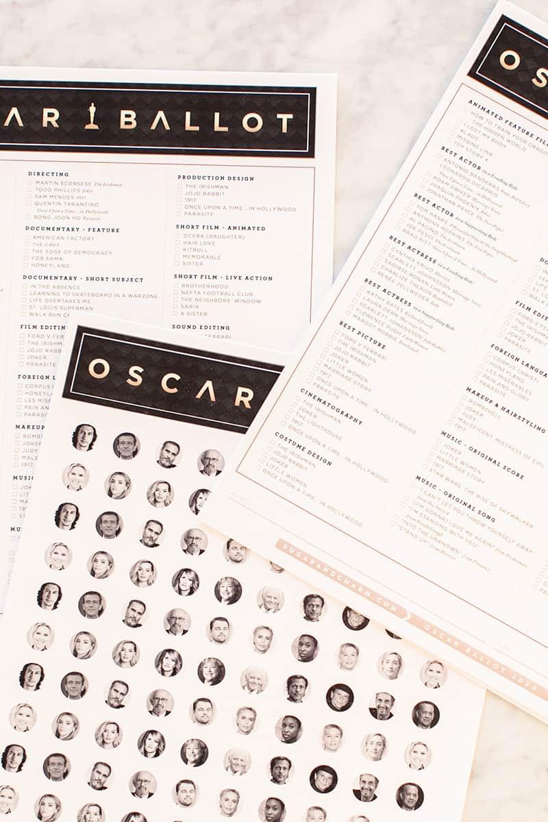 Oscar Ballot Printable and Confetti