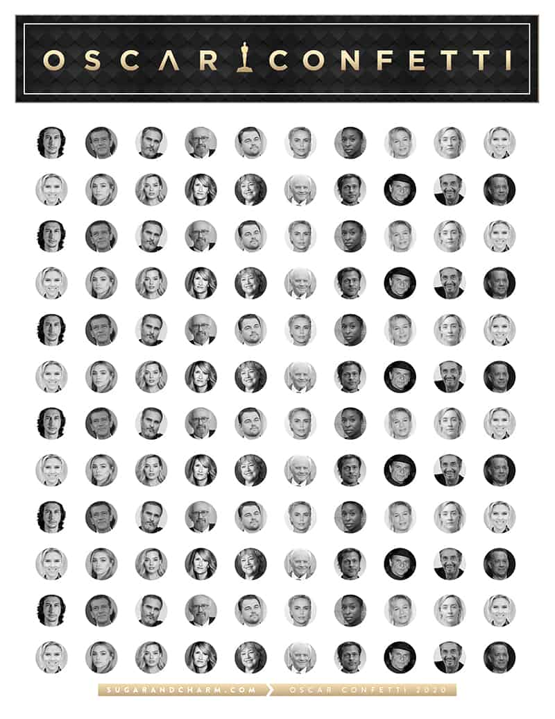 Oscar confetti printable graphic.