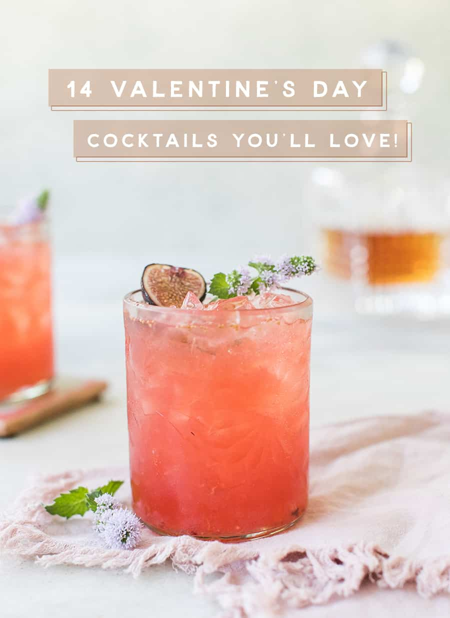 Pink cocktail with graphic overlay