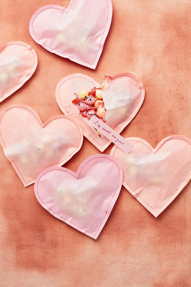 Paper hearts filled with candy for the perfect Valentine's Day Crafts