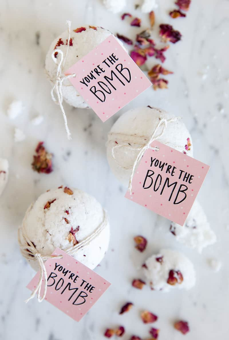 Bath bombs with dried flowers and you're the bomb printable.