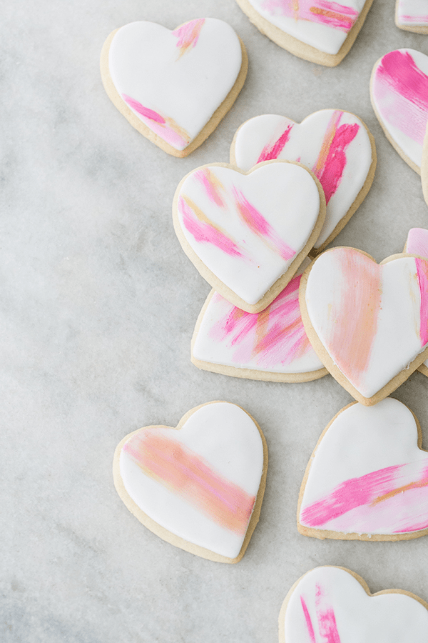 Brush stroked heart shaped cookies.