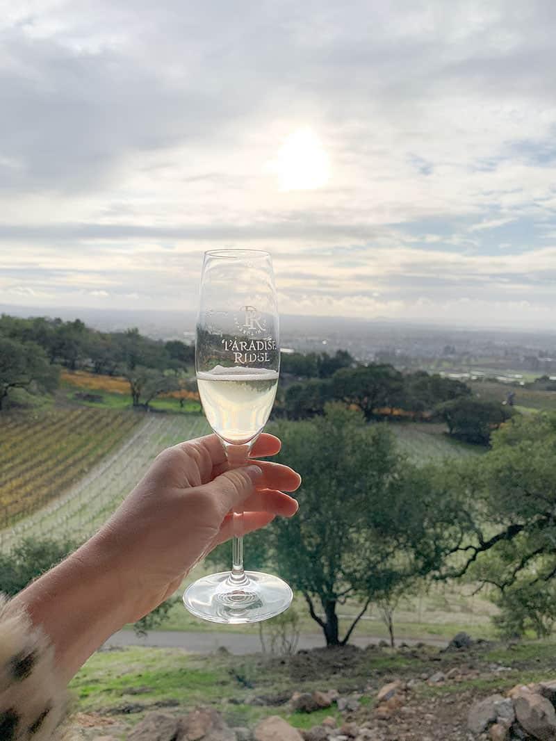 Glass of bubbles at Paradise Ridge Winery in Santa Rosa