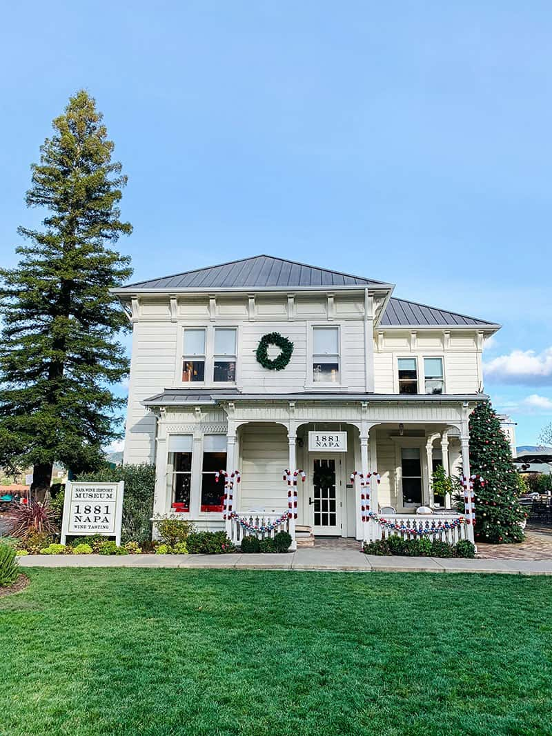 White farmhouse decorated for Christmas at 1881 Napa