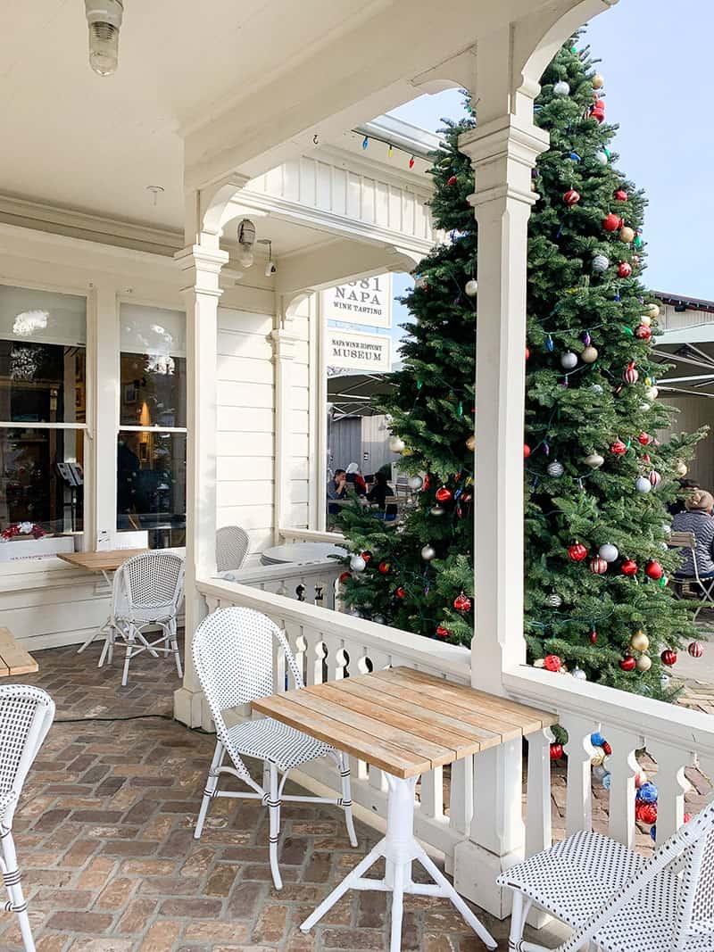 Christmas tree and beautiful farmhouse.