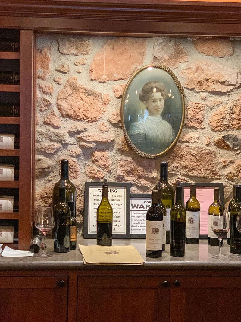 Freemark Abbey winery with picture of Josephine Tychson.