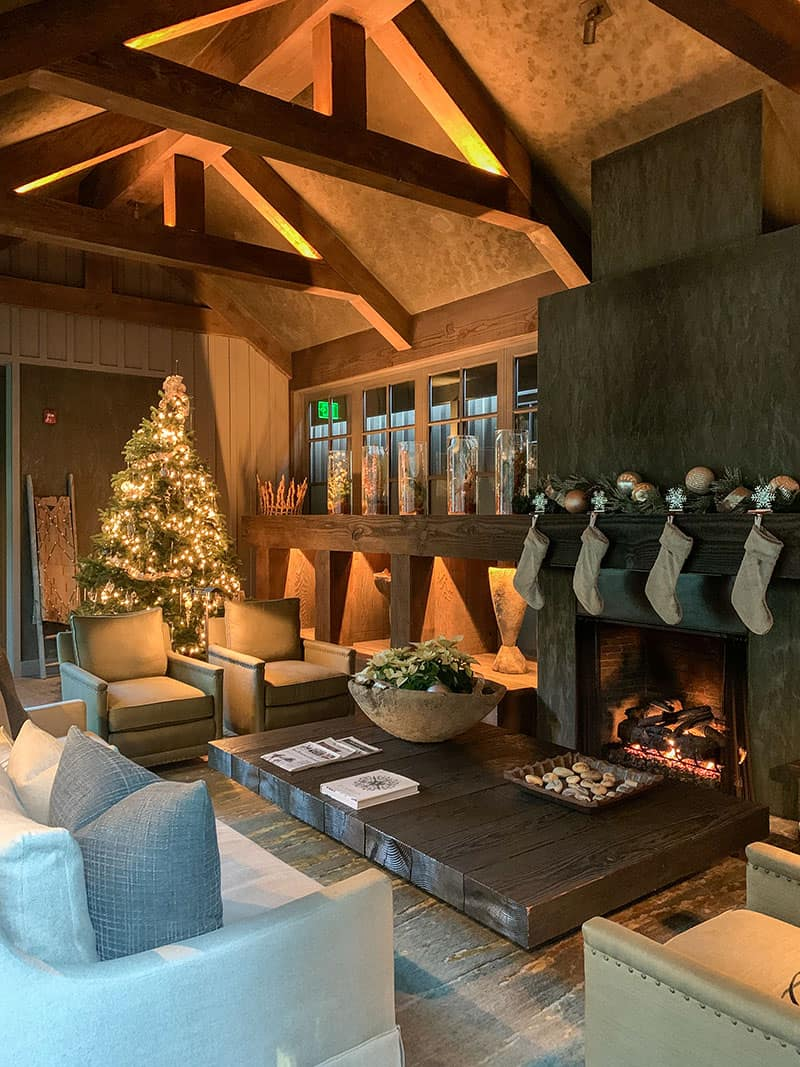 Spa living room area decorated for Christmas at Meadowood Napa