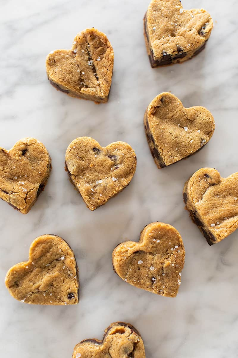 The best blondie recipe cut into heart shapes