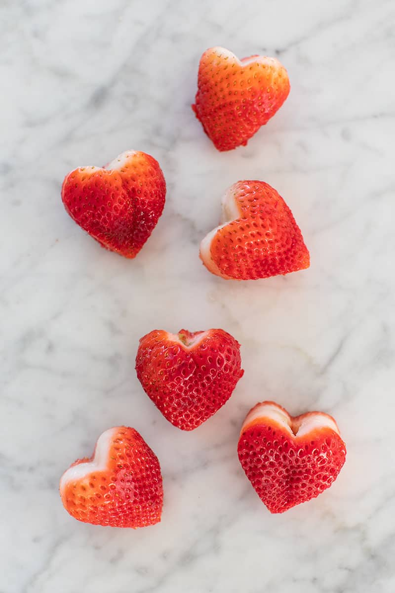 Heart shaped strawberries
