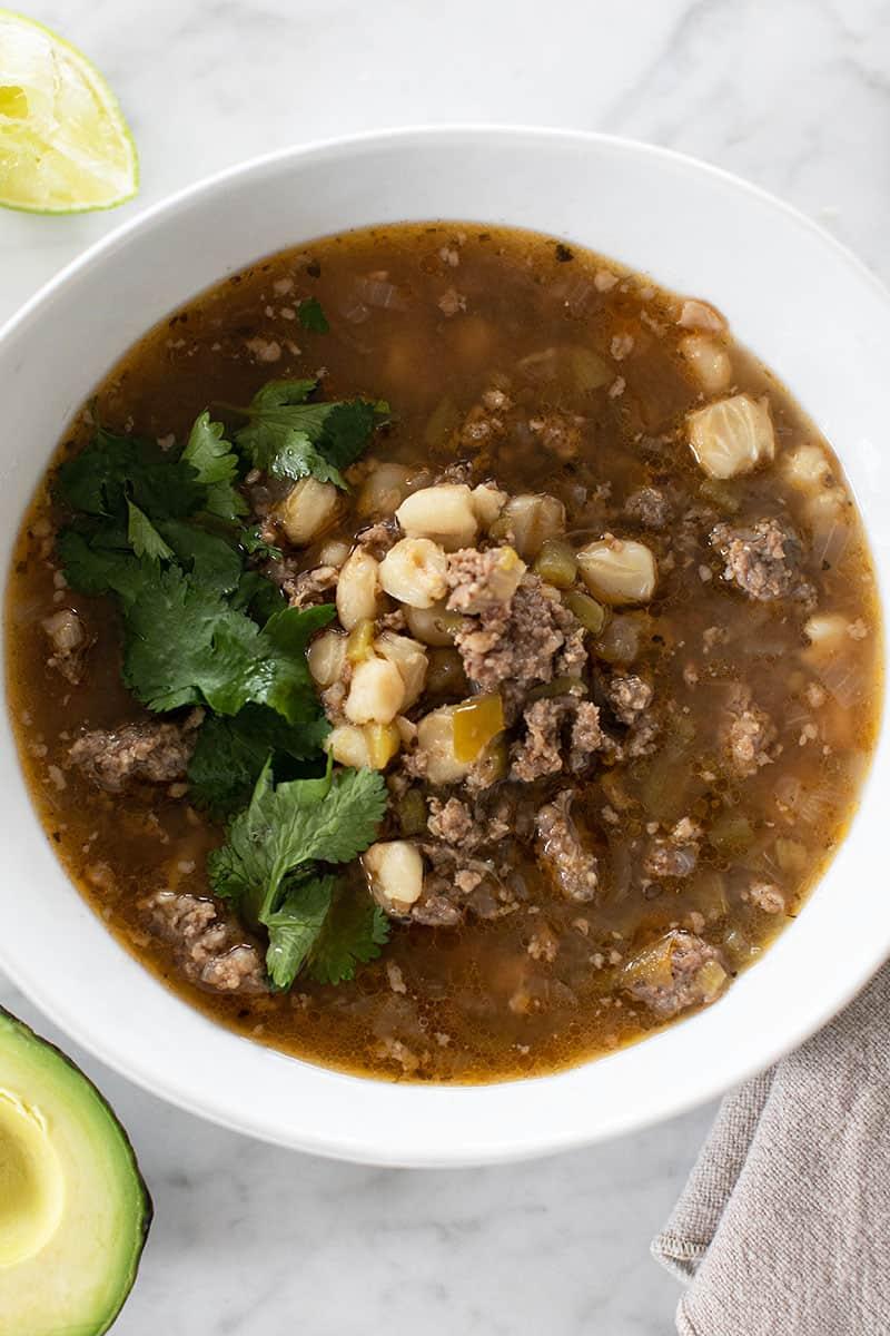 Easy pozole soup with cilantro