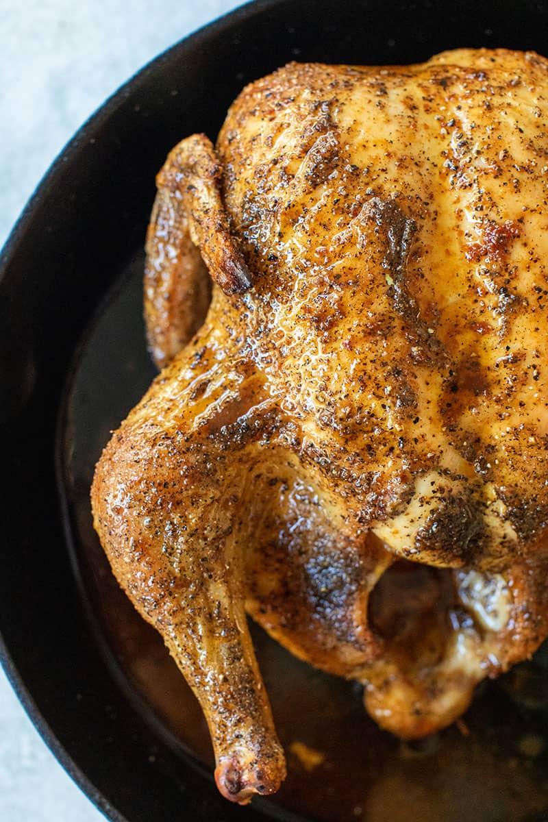 roast chicken in cast iron pan