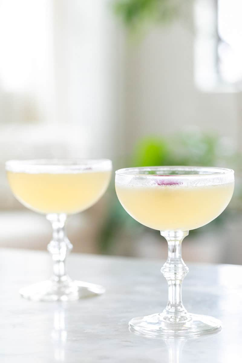 Coupe glasses with Bee's Knees cocktail