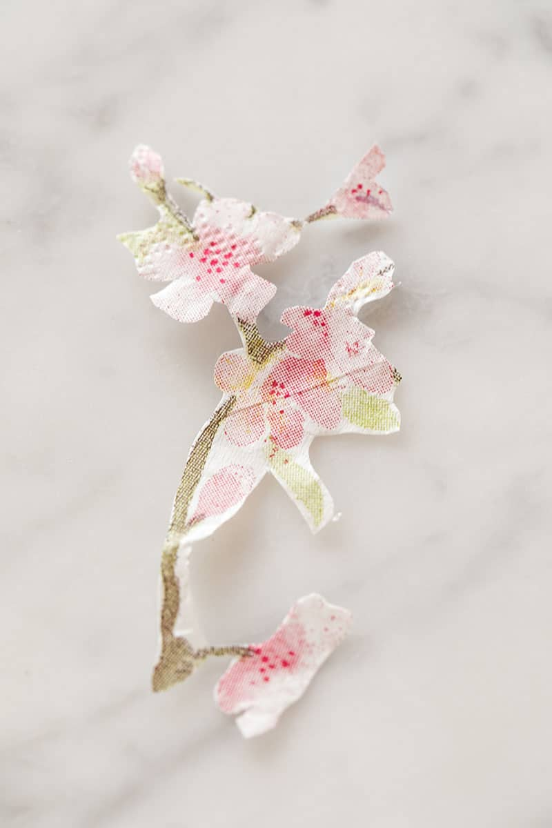 Paper cherry blossom cut out of a napkin