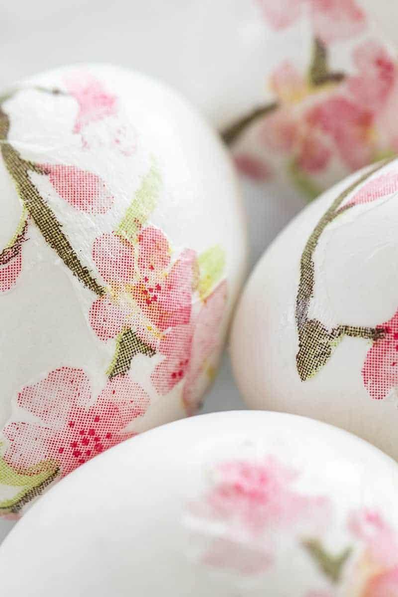 Cherry blossom decoupage Easter eggs