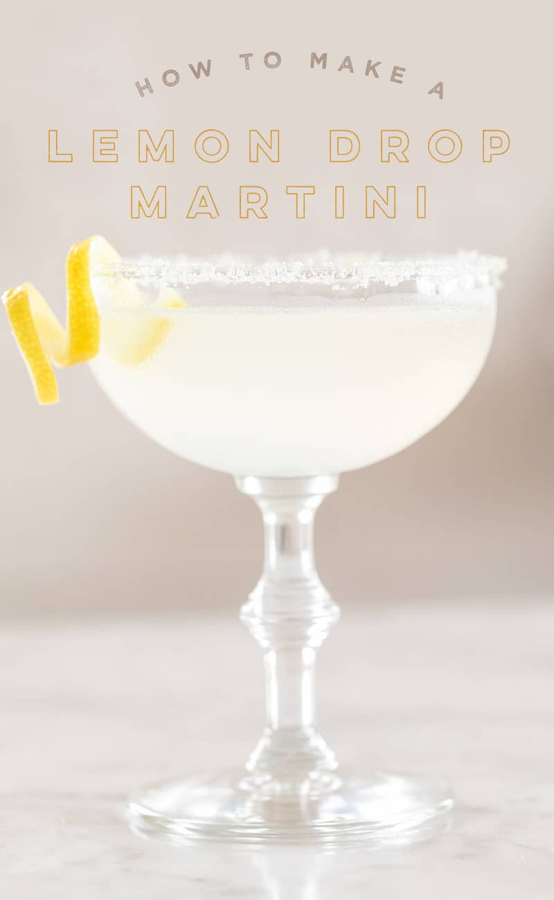 lemon drop martini in a coupe glass with a lemon twist