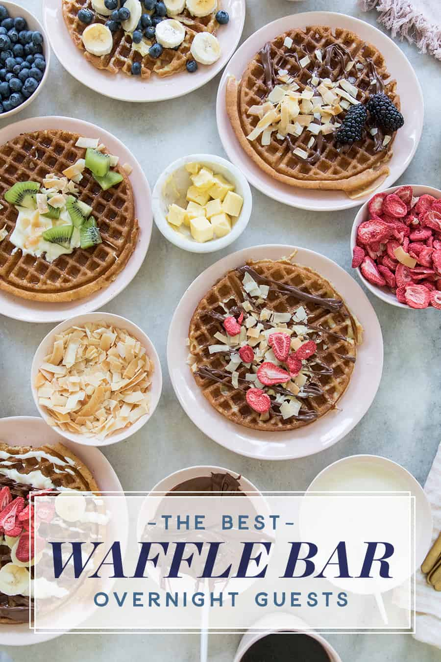 waffles on pink plates with toppings.
