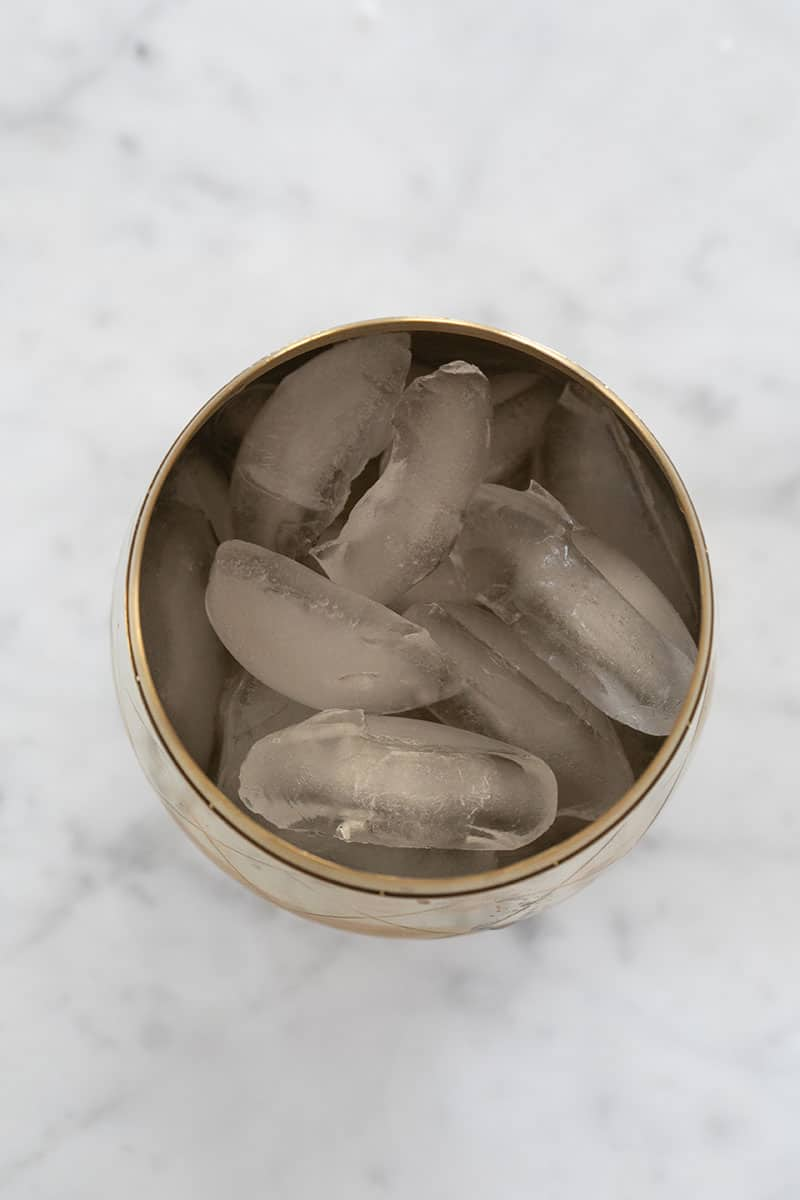 Ice in a cocktail shaker.