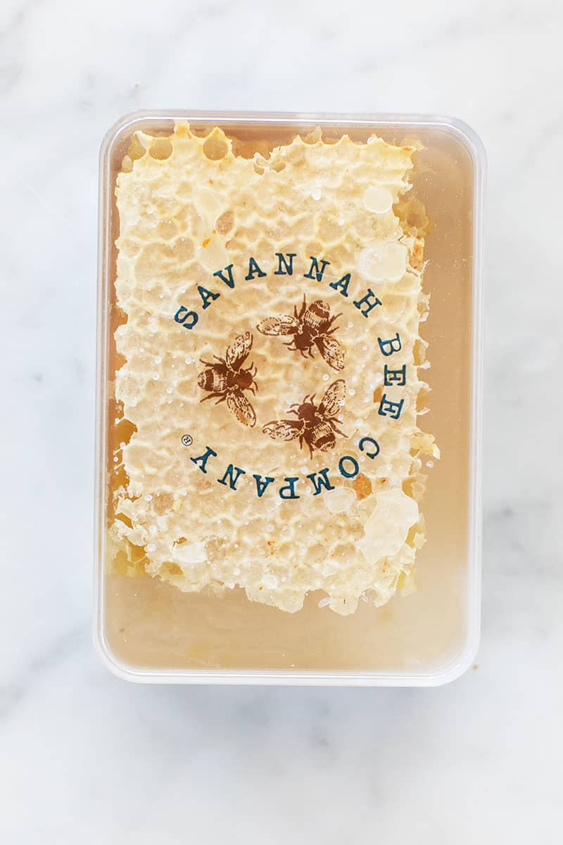 raw honey for a meat and cheese board