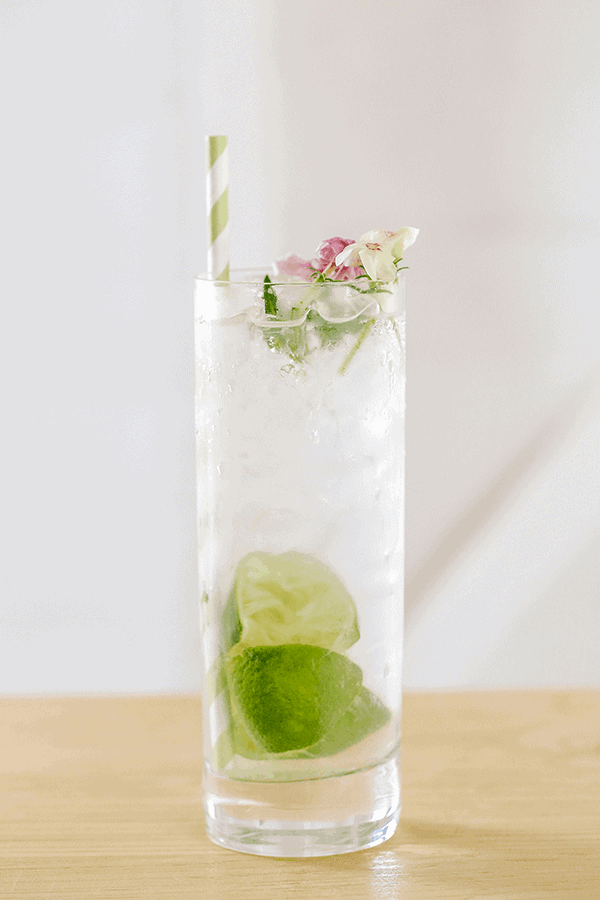 Gin and tonic cocktail in a tall glass with limes and flowers.