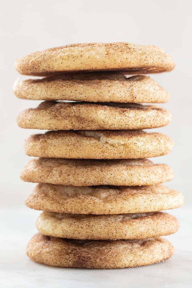 chewy snickerdoodle cookies stacked