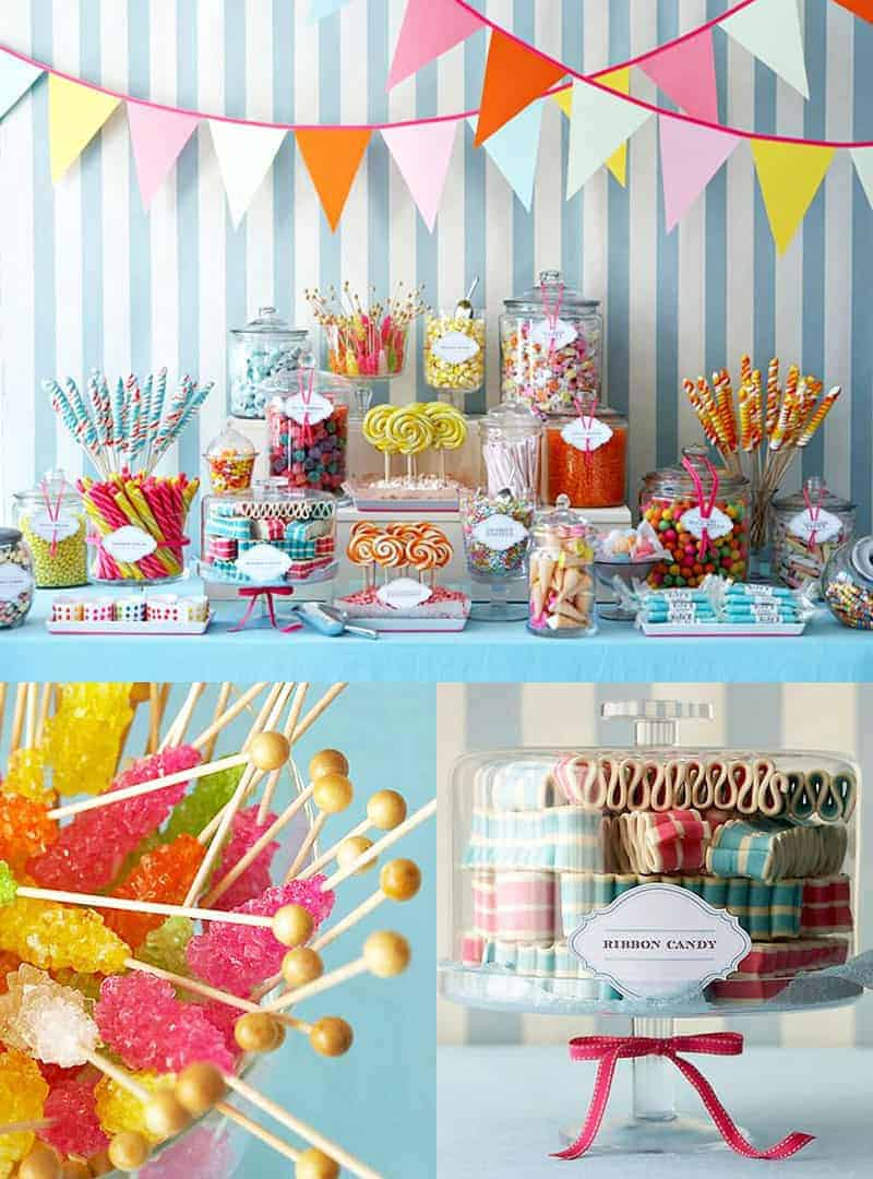 Colorful candy bar for a graduation party.
