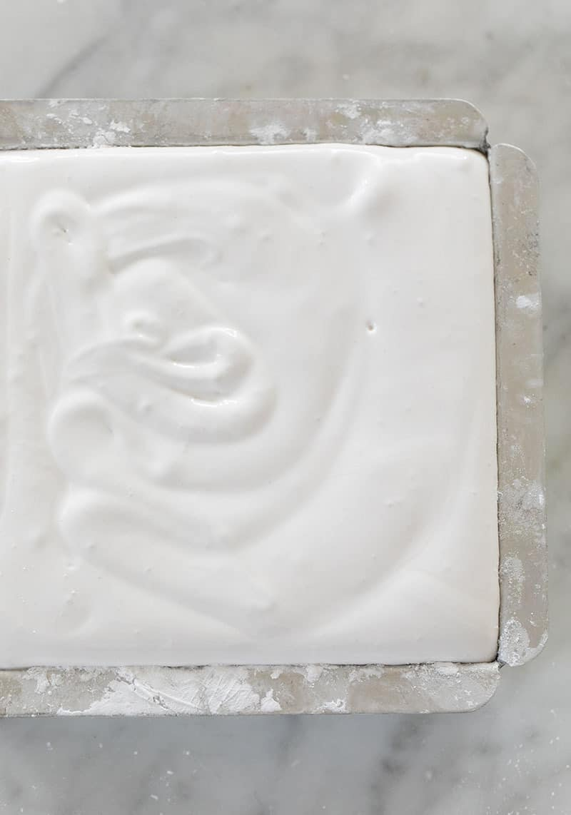 Marshmallow recipe setting in a 6 x6  pan