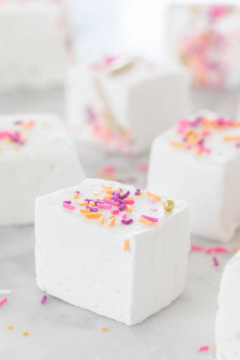 Homemade marshmallows with sprinkles