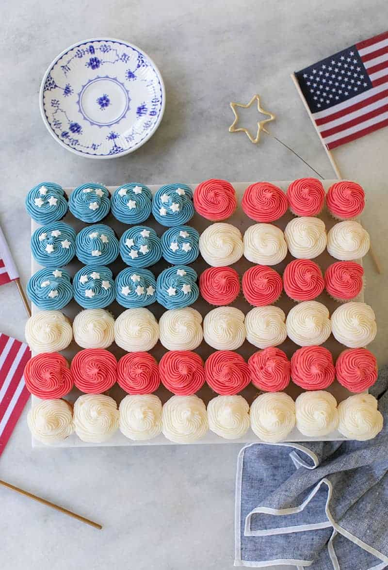 Mini cupcakes in the shape the American flag for the 4th of july.