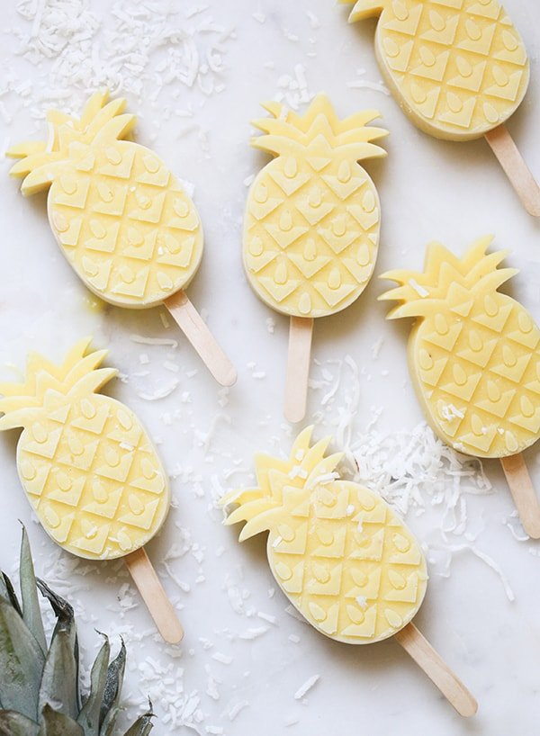 Homemade popsicles shaped as pineapples.