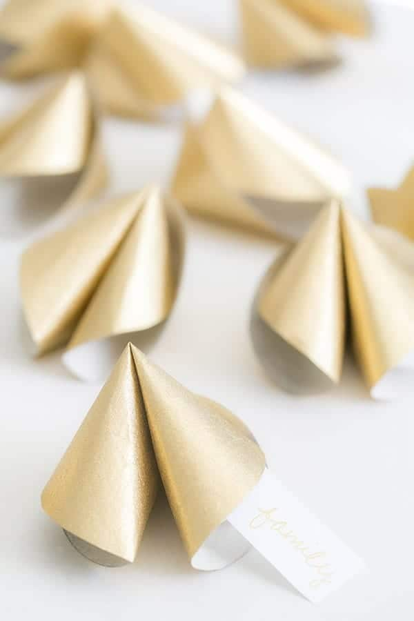 Giant paper gold fortune cookies