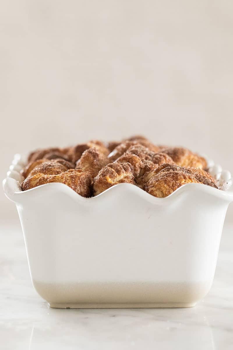 Monkey bread in a loaf pan.