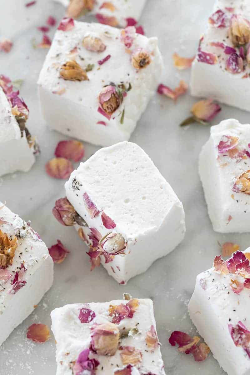 Giant fluffy marshmallows with rose petals.