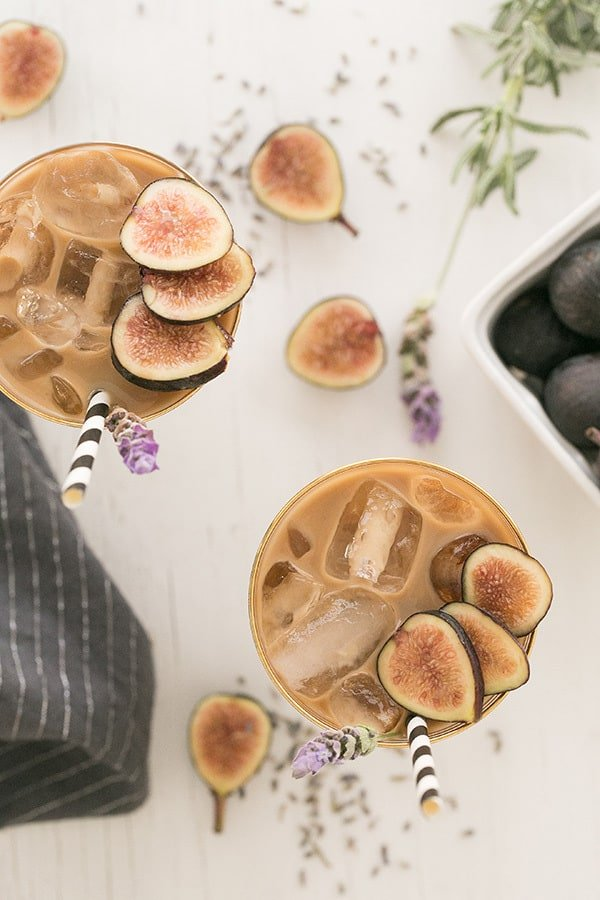 Fig and lavender coffee drinks with figs, straws and iced.