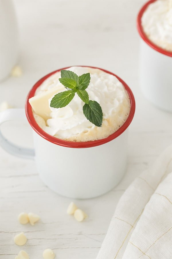 White chocolate peppermint mocha coffee drink with mint.