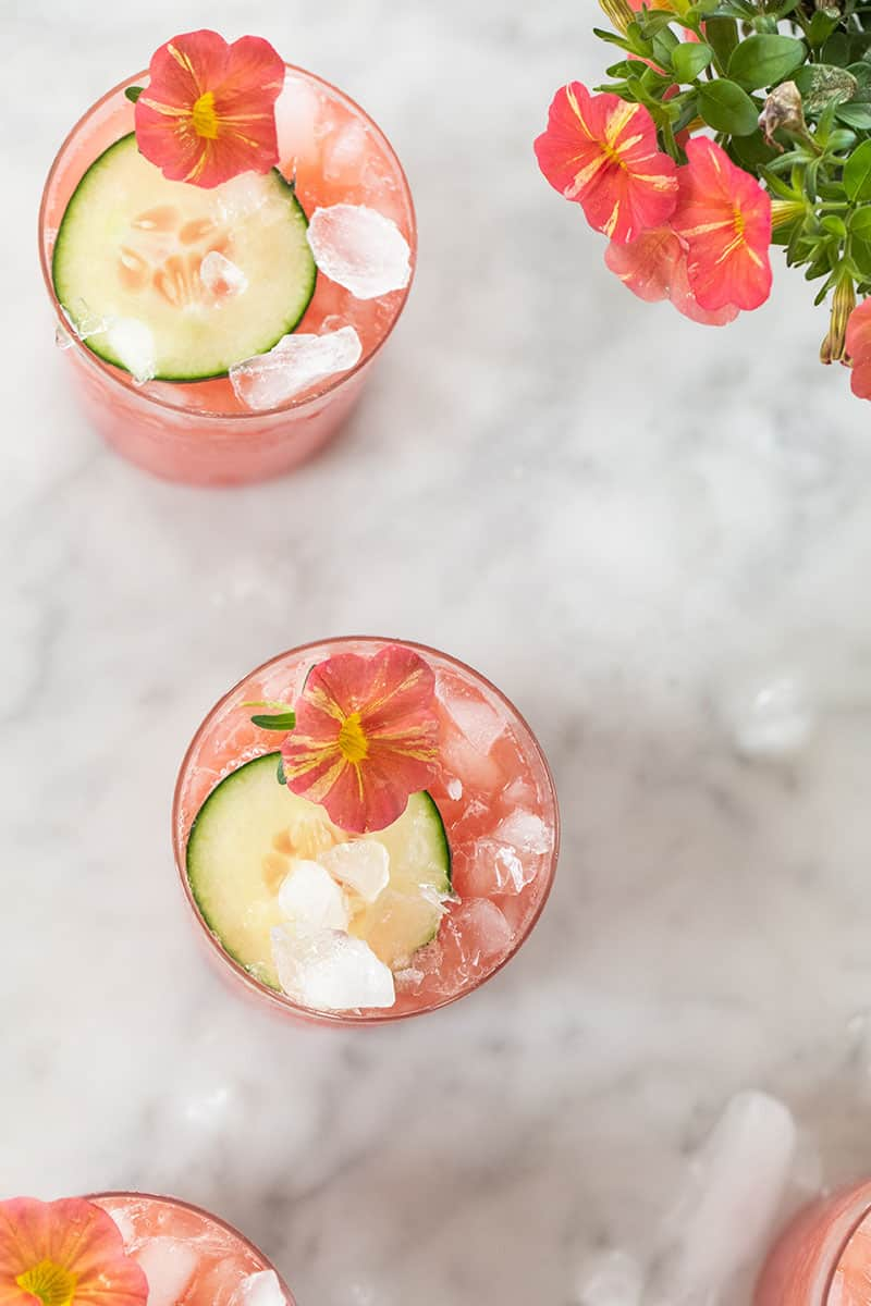 watermelon cucumber cooler with edible flowers