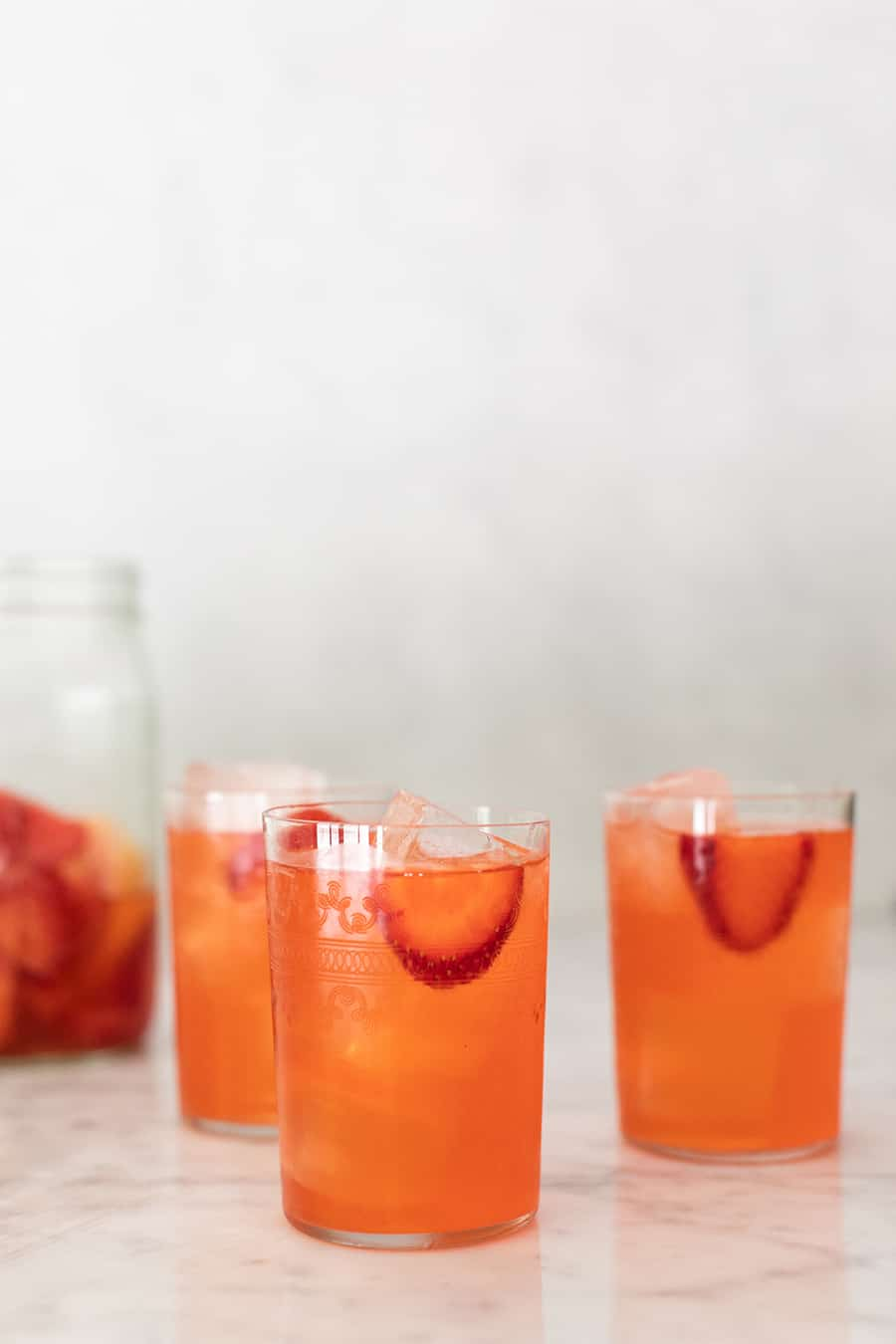 Strawberry lemonade in glasses.