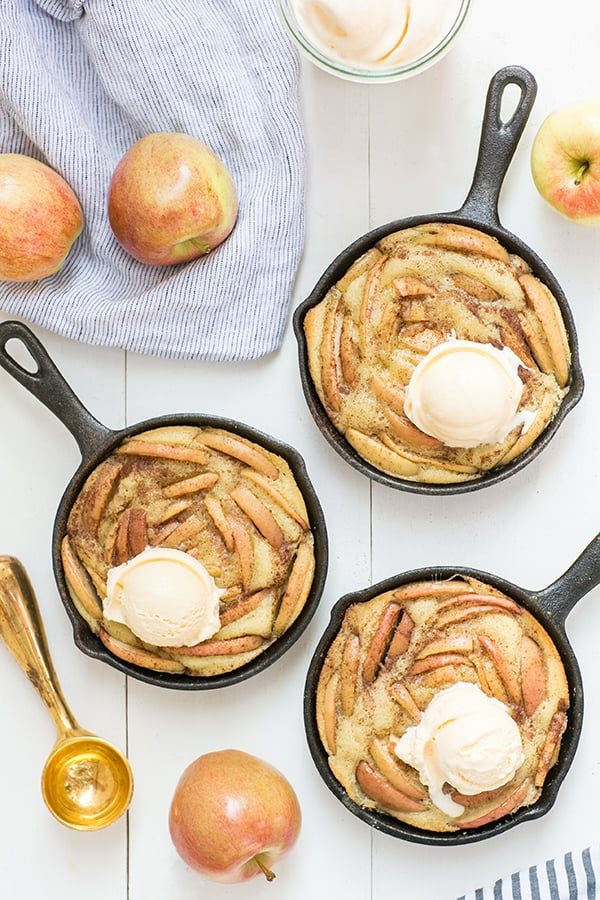 Apple cake in cast iron with vanilla ice cream.