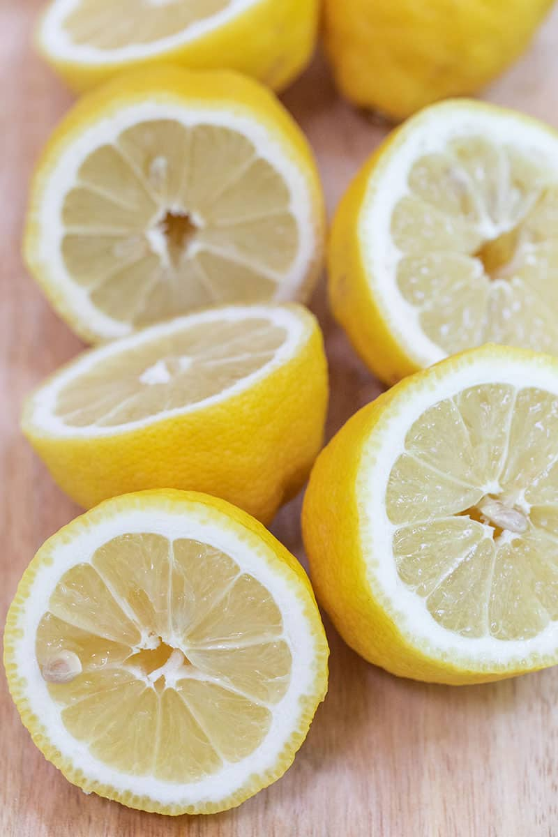 fresh lemon juice from sliced lemons.