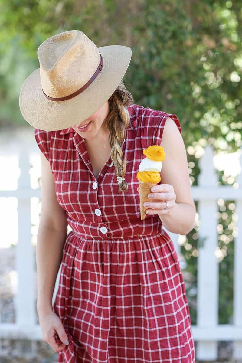 Eden Passante holding an ice cream cone.