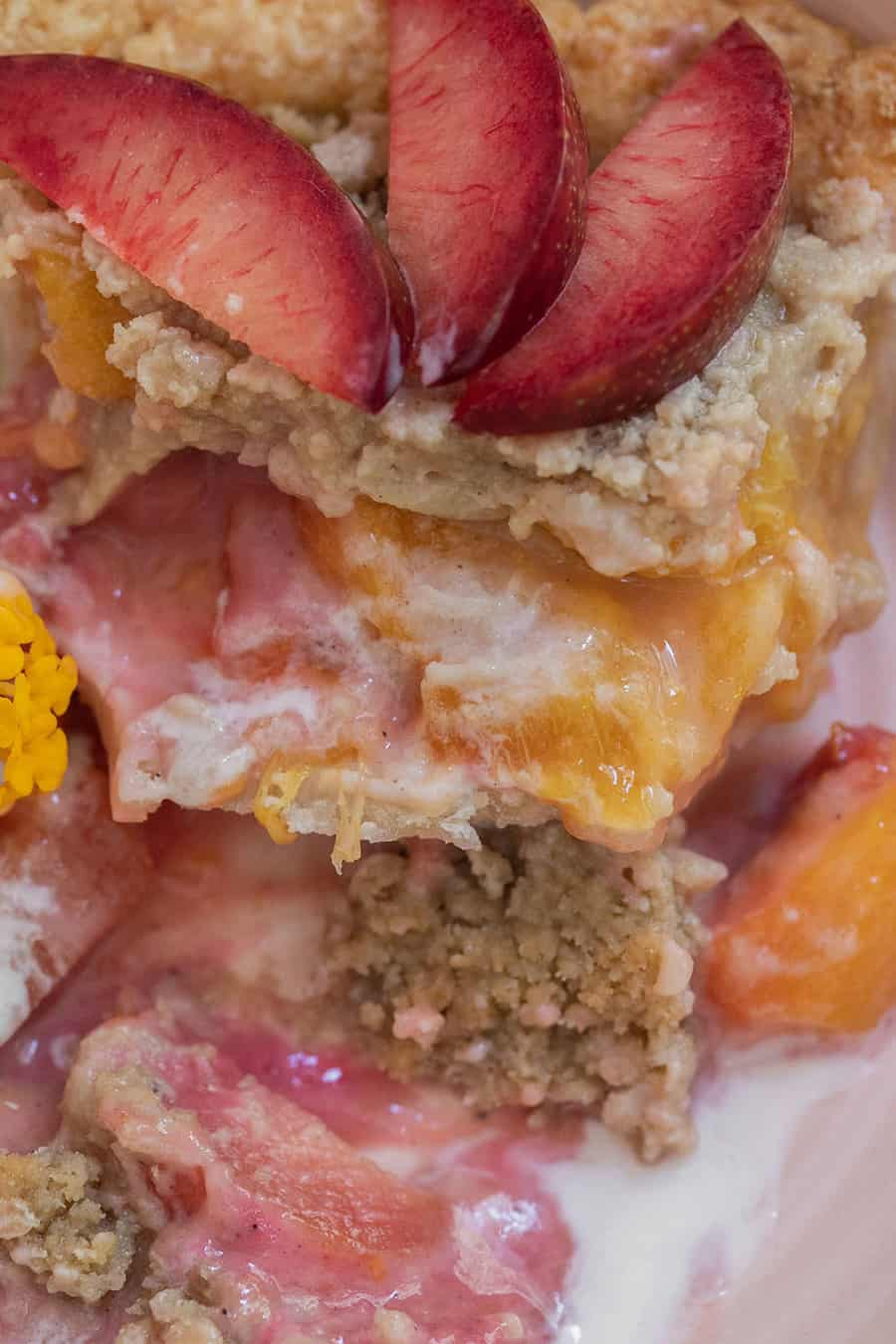 Fruit pie with sliced aprium and plumcot and crumble top.