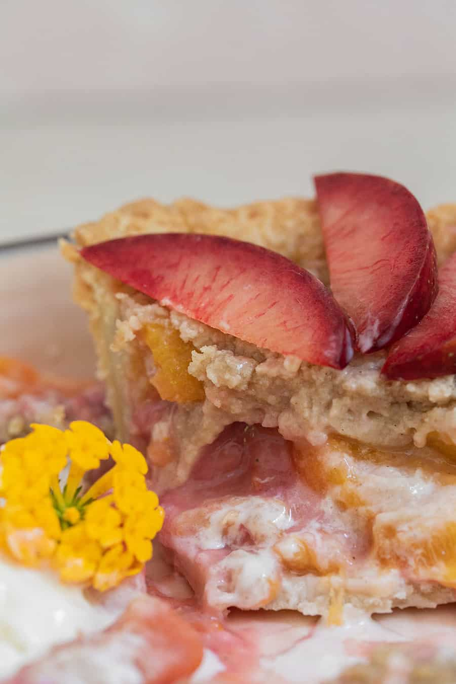 Sliced plumcots on a crumble pie topping with yellow flowers and apriums.