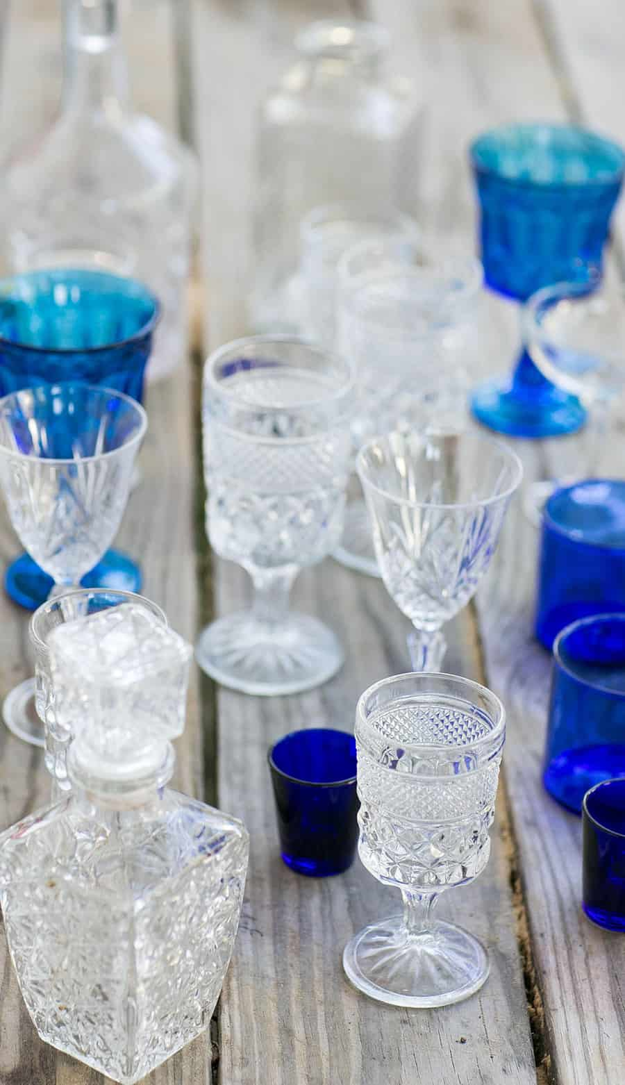 blue and white vintage glasses