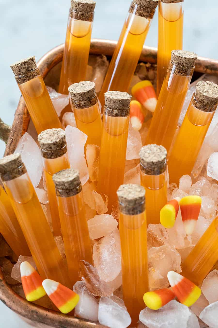 Candy Corn Vodka Shots in test tubes.