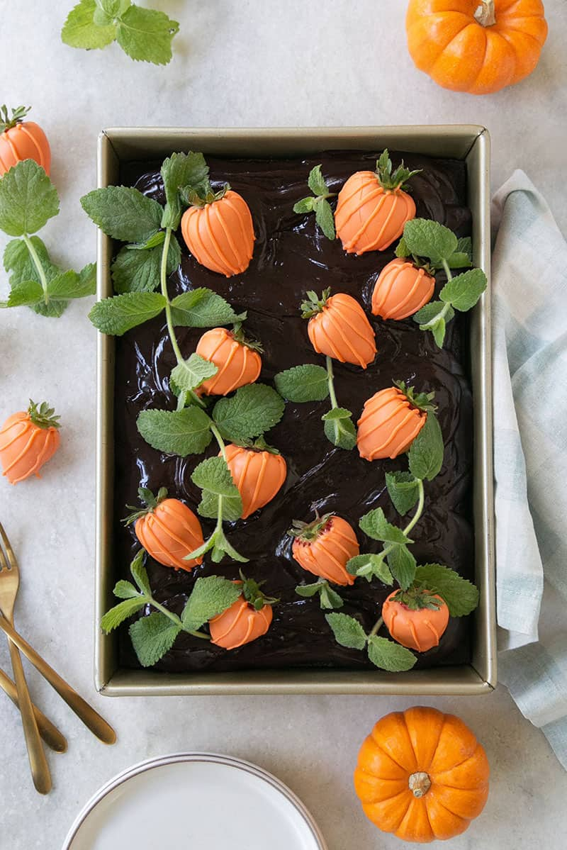 Black sheet cake with orange pumpkin strawberries.