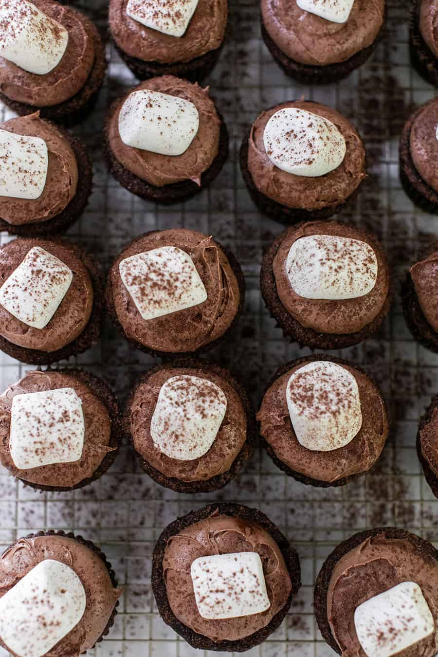 Hot chocolate cupcakes with marshmallows and sprinkled with hot cocoa.