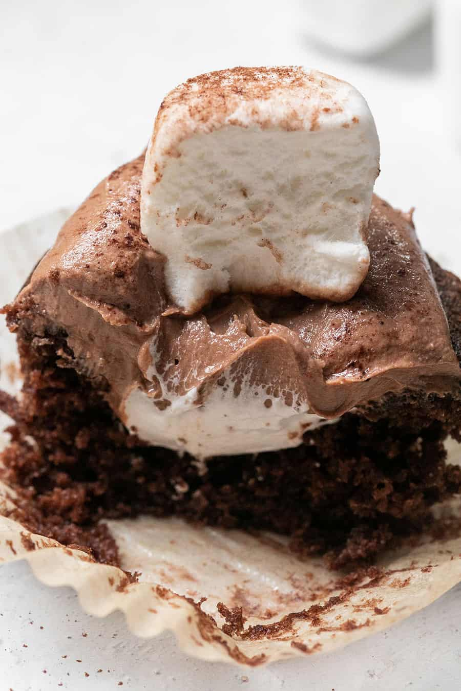 Hot chocolate cupcake with marshmallow filling and chocolate cupcake.
